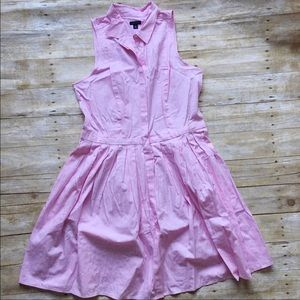 Ann Taylor pink button down shirtdress